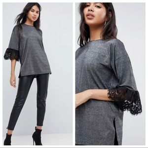 Asos Silver and Black Top
